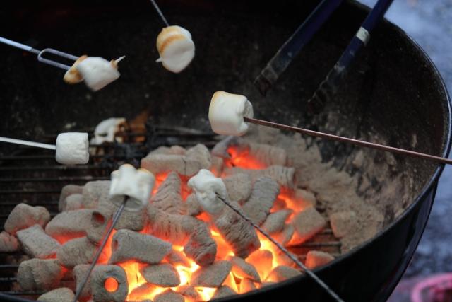 バーベキューで焼きマシュマロ